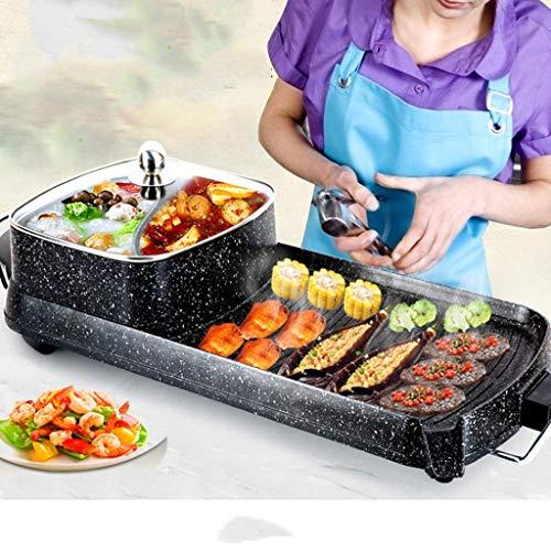 GGGGG Elektrische oven, hete pot, gegrild, one-pot antiaanbakplaat, thuis rookloze grill, elektrische pan