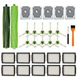 Smilyan Replacement Parts for iRobot Roomba i7 i7+ i8 i3 i6+ Plus E5 E6 E7 Vacuum, 1 Set Multi-Surface Brush, 10 Pack HEPA Filters, 10 Pack Edge-Sweeping Brushes, 5 Pack Automatic Dirt Disposal Bags