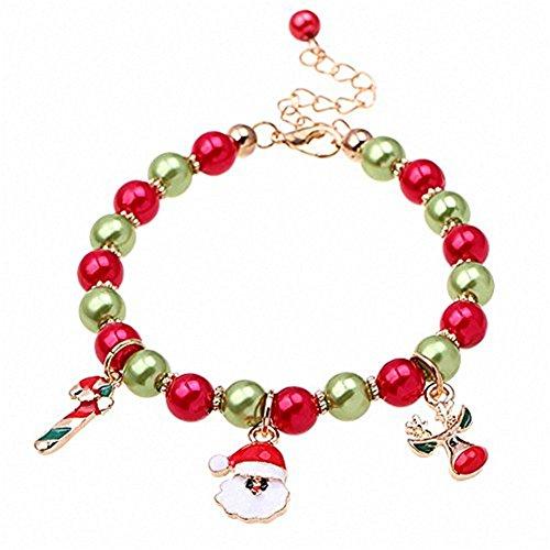 Cosanter mujeres pulsera perlas Navidad encanto mano