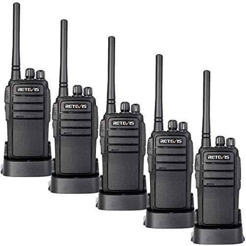 Retevis RT21 Radio Bidireccional Largo Alcance, Walkie Talkie Recargable, Walkie Talkie Portátil de Mano para Adultos Cámping Comunicación(Negro, 5 Piezas)