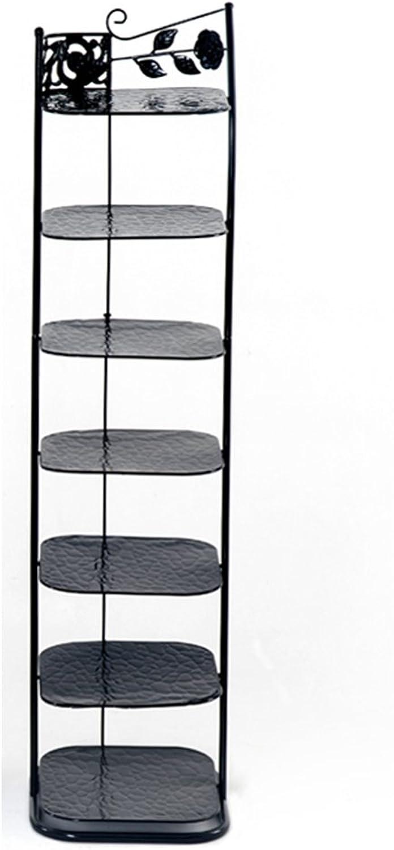 Hoher Schmaler Schuhregal-Metallschwarz-Speicher-Stand Für Stiefel-Balkon-Eingang Eckeinstiegs-Tier 7 Stapelbares Regal (Farbe   Schwarz)