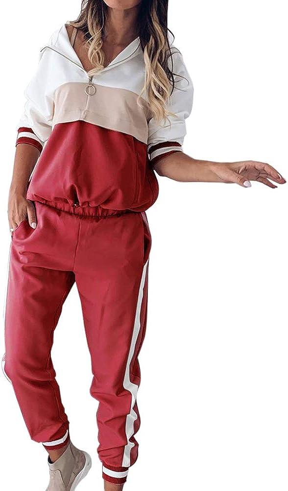 Lange Hose Sportswear 2 St/ück Bekleidungsset Sport Vertvie Damen Sportanzug Traingsanzug Jogginganzug Frauen 2 Teilig Freizeitanzug Kapuzenpullover Lange /Ärmel Zipper Top