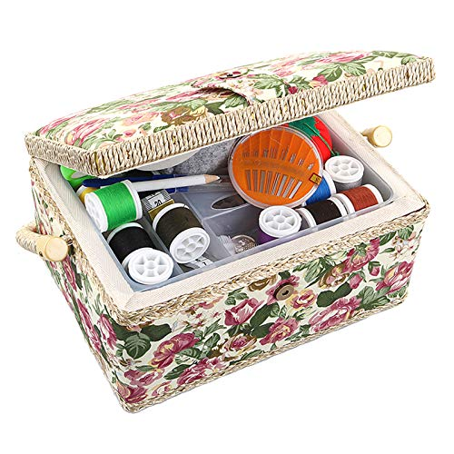 Large Sewing Basket with Accessories Sewing Storage and Organizer with Complete Sewing Kit Tools, Wooden Sewing Box with Removable Tray and Tomato Pincushion for Sewing Mending, Beige