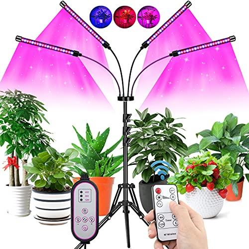 COKOLILA Lamparas LED Cultivo, 80w Lámpara de Crecimiento LED con Soporte, Luces LED Cultivo Espectro Completo de Regulable y 360°Ajuste, con FunciónTemporizador, para Jardinería Bonsai