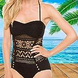 TAYIBO Fit Cuerpo Atractivo Bañera Bikini,Traje de baño de una Pieza de Talla Grande, Encaje de Malla, Bikini Sexy-Black_3XL
