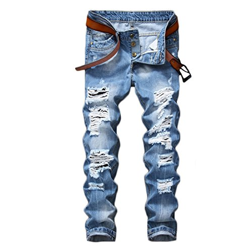 Just No Logo Men's Skinny Ripped Moto Biker Jeans(Blue,30W)