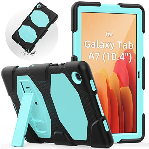 SEYMAC Shockproof Case for Samsung Tab A7 (10.4 Inch) 2020 Release, Samsung Tablet SM T500/T505 Case, Three Layers Protective Case with Robust Built-in Kickstand for Galaxy Tab A7, (Black+Light Blue)