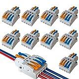 QitinDasen 9Pcs Premium KV424 Palanca Tuerca Cable Conector Set, 2 en 4 fuera Conductor Compacto Cable Conector, Rápido Resorte Conector Bloque Terminal