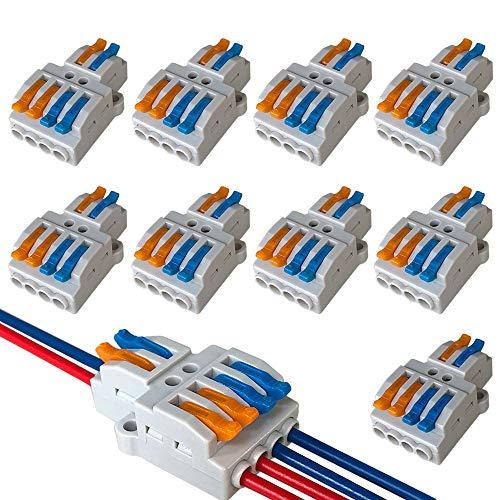 clasificación y comparación QitinDasen Juego de conectores de cable de tuerca de palanca KV424 Premium de 9 piezas, 2 en 4 enchufes, conductor compacto … para casa