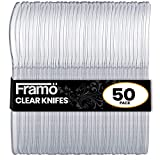 Framo Clear Plastic Knives, 50 Count, Disposable Heavyweight Utensils for Party, Picnic, Barbecue, Kitchen or Restaurant Use, Strong Heavy-Duty Throwaway Cutlery (50 Knives)