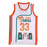 TUEIKGU Mens 33 Flint Tropics Jersey Jackie Moon Basketball Jersey S-XXL Green/White (33 White, XX-Large)