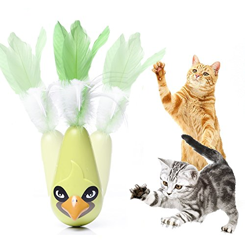 Cat Toys Best Automatic Feather Interactive Shake Tumbler Toy Entertainment Exercise for Indoor Cats Best Toy for Kitten Green