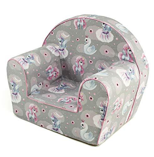 MuseHouse - Kindersessel. Kuschelig weicher Schaumstoff. Kinderstuhl zum Spielen. (UnicornGray)