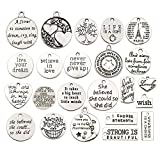 WOCRAFT 40pcs Inspiration Words Charms Craft Supplies Beads Charms Pendants for Jewelry Making Crafting Findings Accessory for DIY Necklace Bracelet (M331)