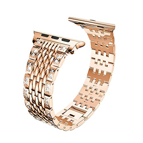 Fhony Stainless Steel Watch Band Compatible Apple Watch Band 38Mm 40Mm 42Mm 44Mm Luxury Crystal Bling Rhinestone Diamond Bracelet Strap for Iwatch Series 6 5 4 3 2 1 SE,Rose gold,38/40mm
