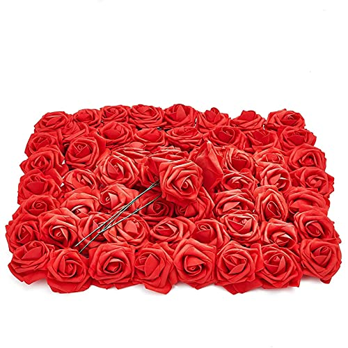Bright Creations Red Artificial Rose Flower Heads with Stems, 3 Inch Faux Flower (60 Pk)