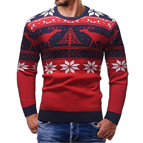 Suéter de Invierno para Hombre con diseño de Ciervo, Manga Larga, Casual, Ajustado, Grueso