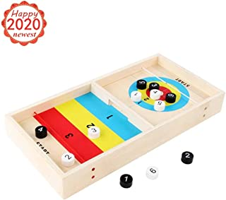 Fast Sling Puck Game - Slingshot Games Toy - Paced Winner Board Toys for Kids & Adults - Educational Table Desktop Hockey Game Battle - Wooden Parent-Child Interactive Curling Ball Games