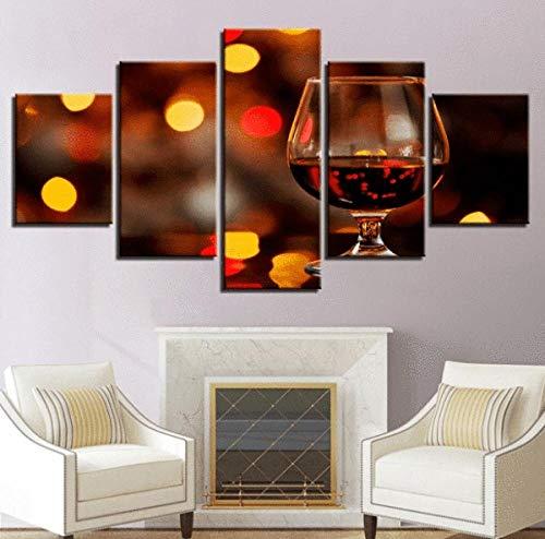 TXFMT Geen Frame Canvas Decoratie Schilderen Handgemaakte DIY Restaurant Bar Wijnglas 5 Stuk Modern Landschap Kunstwerk hd Foto's Schilderijen op Canvas Muur Kunst voor Woonkamer Slaapkamer Decoraties 150*100CM