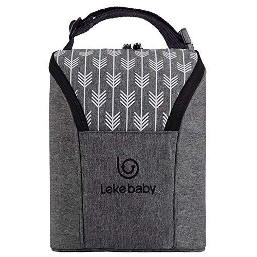 Lekebaby Kühltasche Baby Flaschentasche Isoliertasche für Babyflaschen, Grau