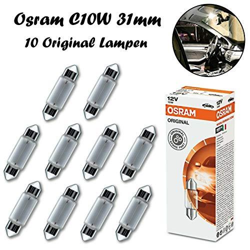 10x Osram Original C10W 31mm 12V 6438 Standard Ersatz Halogen Soffitte Lampe für Innenbeleuchtung - Kofferraum Handschuhfach Kennzeichen Tür Fußraum Leselampen Lizenz - E-geprüft