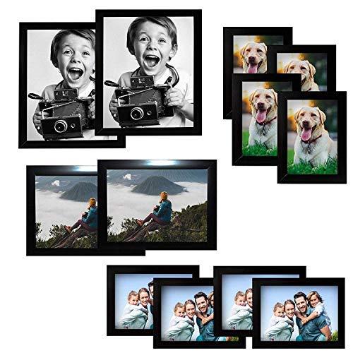 Marcos de Fotos 12pcs - Marcos de Foto Madera Negra 2x(20x25cm), 2x(15x20cm), 4x(13x18cm), 4x(10x15cm) - con Tanto Retrato y Paisaje Brazo Sostenedores Para Tabletop, Desktop - Hogar, Oficina, Estudio