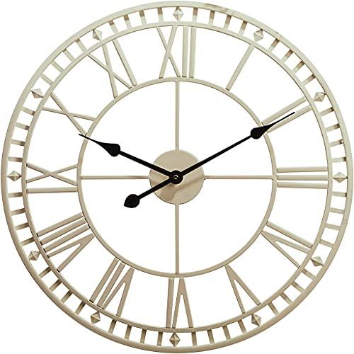 Reloj De Pared Grande De 60 Cm, Reloj De Cuarzo con Números Romanos Resistente A La Intemperie para Jardín Exterior, Decoración De Pared Sala De Estar Interior Reloj Pared Mudo Sin Garrapatas