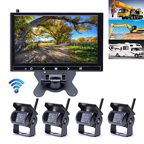 Mengen88 Sistema de cámara de visión Trasera inalámbrica Digital HD de 9 Pulgadas, Monitor de Marcha atrás LCD de 9