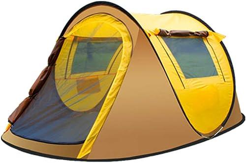 Tente 3-4 Personnes étanche 2 Secondes Vitesse Ouvert en Plein Air Randonnée Camping Doré