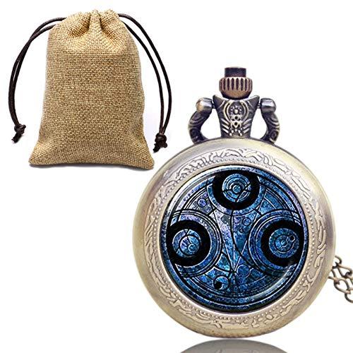 XTQDM Reloj de Bolsillo,Bronce Antiguo Collar de Moda Reloj de Bolsillo Relojes de Bolsillo de Cuarzo Hombres Mujeres con Bolsa de Almacenamiento de Lino necklaceclock2