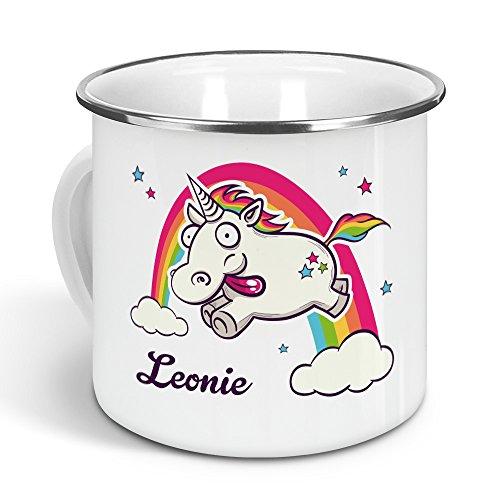 printplanet - Emaille-Tasse mit Namen Leonie - Metallbecher mit Design Verrücktes Einhorn - Nostalgie-Becher, Camping-Tasse, Blechtasse, Farbe Silber, 300ml