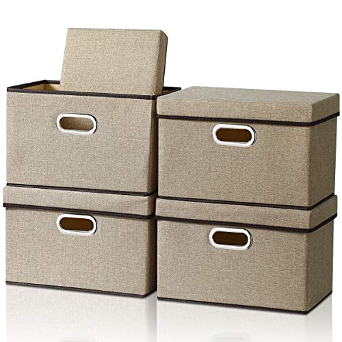 Storage Box with Lid [4-Pack] Foldable Jute Fabric Storage Bin with Lid Collapsible Storage Cube Organizer Containers Baskets with Cover for Home Bedroom Closet Office Nursery (14.9x9.8x9.8)