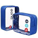 Eono by Amazon - Bolsas de Aseo Transparente Neceser Avion Unisexo Neceseres de Viaje Bolsa de Cosmético Neceser PVC Impermeable Organizador de Viaje, Azul, 2 Pcs