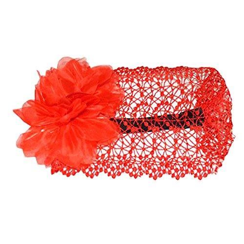 Belle Infant Baby Girl Haute Qualité Deux fleurs Cheveux Band Bandeau-Rouge