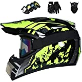 JCLDG Casco de Motocross para Motocross, Casco Descenso Hombre, Casco Motocross Enduro Quad MTB con Gafas/Máscara/Guantes, Casco Cross Quad Off Road ATV Scooter, Apto para Adultos y niños,L