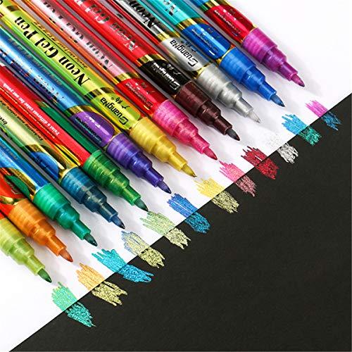 ZJL220 12 colores brillantes marcador de pintura marcador permanente marcador DIY arte marcador pluma papelería suministros escolares
