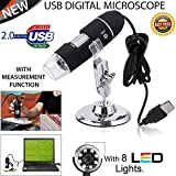 Microware 1000X Magnifier 8 LED Digital Microscope USB Endoscope Camera Metal Base Portable Hand Held Endoscope for Inspection