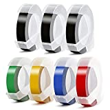 Aken Compatible Label Tape Replacement for Dymo Embossing Label Maker Tape 3D Plastic Labels Colored Embossing Tape for Organizer Xpress Pro, Label Buddy,Old Rotex Embosser Office Mate II 3/8 inch 7pk