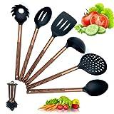 Utensilios de cocina silicona nailon - 6 piezas juego de cucharones cucharas de decoración accesorios con mango imitacion madera y marmol - resistentes al calor y antiadherentes
