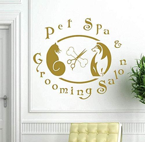 Muurstickers, muurstickers, mooie decoratie voor kappers, woonkamer, huisdieren, spa, huisdieren, tent, kat, hond, binnen, vinyl, raam 42 x 47 cm