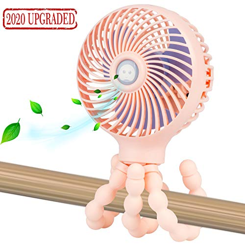 Mini Handheld Personal Portable Fan, Baby Stroller Fan, Car Seat Fan, Desk Fan, with Flexible Tripod Fix on Stroller/Student Bed/Bike/Crib/Car Rides, USB or Battery Powered (Pink)