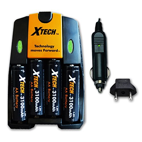 Xtech High Speed AC/DC Charger plus 4 AA NiMH 3100mAh High Capacity Rechargeable Batteries for Nikon Coolpix L840, L830, L820, L810, L620 L610, L320, L30, L28, L26 Digital Cameras.