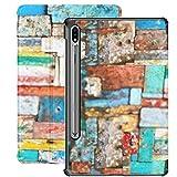 Funda Galaxy Tablet S7 Plus de 12,4 Pulgadas 2020 con Soporte para bolígrafo S, decoración de Madera pelada Pintada, Textura sin Costuras, Funda Protectora con Soporte Delgado para Samsung