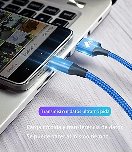 Aioneus Cables Cargador iPhone 2M Blanco y 0.5 M Azul Cable iPhone,[Certificado MFi] Cable Lightning Carga Rápida para iPhone 12 Pro Max/12 Mini/SE 2020/11/X/Xr/8/8 Plus/7/7 Plus/6/5/5S/5C, iPad,iPod