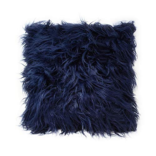 2 x Soft Mongolian Faux Fur Suede Navy Blue Fluffy Thick Pile Cushion Cover 17'