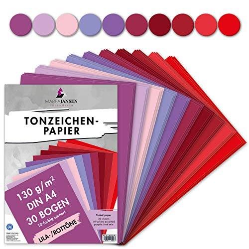 MarpaJansen Tonzeichenpapier 10 Lila/Rotton Farben, DIN A4, 30 Bogen, 130 g/m², Blauer Engel zertifiziert