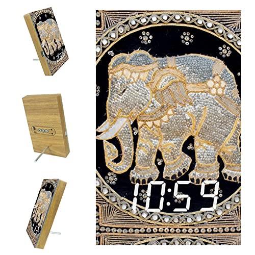 Yuzheng Elefante de Alfombra Colorida Vintage Reloj Despertador Digital de cabecera con función de repetición, Reloj Digital electrónico con Reloj de Escritorio LED Grande Configuración fácil