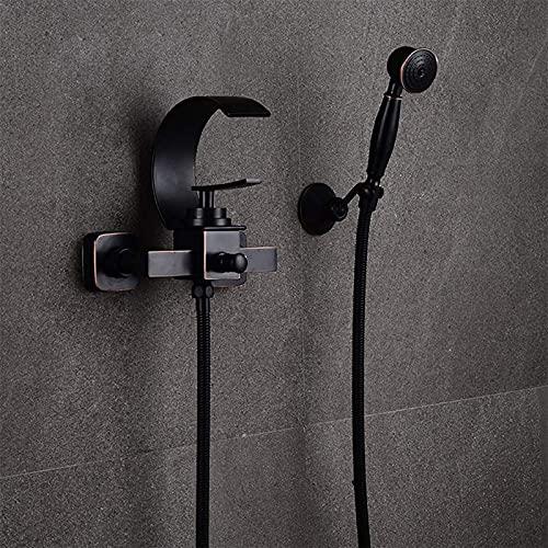 zzook Mezclador De Ducha Negro Batería De Baño Conjunto De Ducha De Latón Montaje En Pared Baño Ducha Ducha Cascada Grifo Conjunto De Palanca Simple Mezclador De Baño Retro Estilo Antiguo,Negro