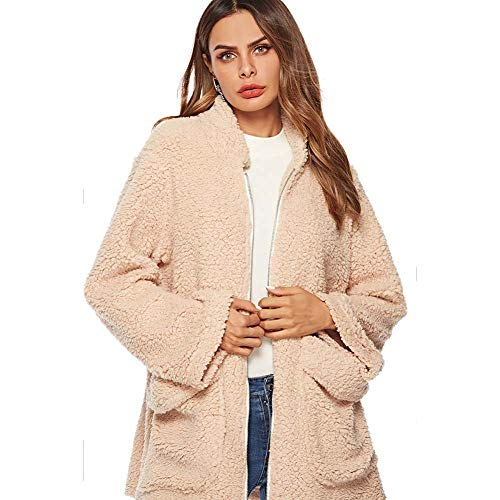 ELEAMO Teddy jas korte vrouwen vest winter revers dikker warme taille vrouwen katoenen jas met zak Beige