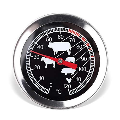 Schramm® Fleisch Thermometer Temperaturmesser in schwarz oder silber Bratenthermometer aus Edelstahl Grillthermometer Ofenthermometer, Farbe:schwarz